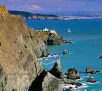 Sailboat, Point Bonita Lighthouse, Golden Gate National Recreation Area, Marin County, California