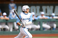 CHAPEL HILL, NC - FEBRUARY 27: Angel Zarate #40 of North Carolina gets a hit during a game between Virginia and North Carolina at Boshamer Stadium on February 27, 2021 in Chapel Hill, North Carolina.