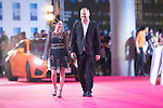 David May, Cecilia So (black dress), Lee Sharpe, and Karena Ng (white dress) walk the Red Carpet event at the World Celebrity Pro-Am 2016 Mission Hills China Golf Tournament on 20 October 2016, in Haikou, China. Photo by Victor Fraile / Power Sport Images