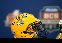 LSU Helmet is pictured during BCS Championship LSU Offensive Press Conference at Marriott Hotel at the Convention Center in New Orleans, Louisiana on January 7th, 2012.