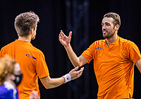 Rotterdam, The Netherlands, 27 Februari 2021, ABNAMRO World Tennis Tournament, Ahoy, Qualyfying doubles match: Arends/Pel (NED)<br /> Photo: www.tennisimages.com/henkkoster