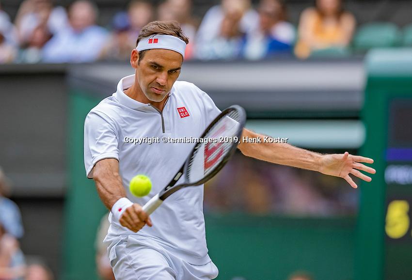 London, England, 6 July, 2019, Tennis,  Wimbledon, Mens single: Roger Federer (SUI)<br /> Photo: Henk Koster/tennisimages.com