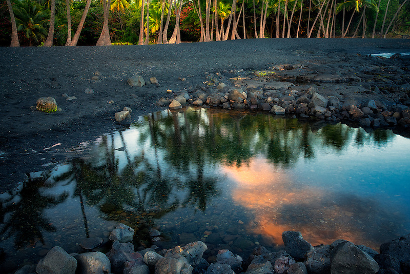 Sunset at Punaluu Black Sand Beach. Hawaii Island, The Big Island.