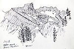 Eagle Cap Wilderness, Brown Mountain, Oregon, ink on paper, Journal Art 2010,