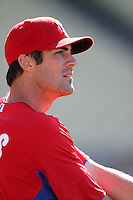 Cole Hamels #35 of the Philadelphia Phillies before a game against the Los Angeles Dodgers at Dodger Stadium on July 16, 2012 in Los Angeles, California. Philadelphia defeated Los Angeles 3-2. (Larry Goren/Four Seam Images)