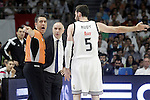 Real Madrid's coach Pablo Laso (c) and Rudy Fernandez have words with the referee during Liga Endesa ACB 2nd Final Match.June 21,2015. (ALTERPHOTOS/Acero)