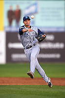 Brooklyn Cyclones second baseman Vincent Siena (11) throws to first during the first game of a doubleheader against the Connecticut Tigers on September 2, 2015 at Senator Thomas J. Dodd Memorial Stadium in Norwich, Connecticut.  Brooklyn defeated Connecticut 7-1.  (Mike Janes/Four Seam Images)