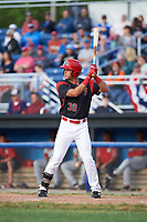 Batavia Muckdogs right fielder Zachary Daly (38) at bat during a game against the Auburn Doubledays on June 19, 2017 at Dwyer Stadium in Batavia, New York.  Batavia defeated Auburn 8-2 in both teams opening game of the season.  (Mike Janes/Four Seam Images)