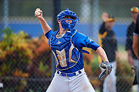 Toronto Blue Jays catcher Hagen Danner (26) throws to second base during a Florida Instructional League game against the Pittsburgh Pirates on September 20, 2018 at the Englebert Complex in Dunedin, Florida.  (Mike Janes/Four Seam Images)