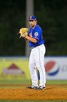 Kingsport Mets relief pitcher Dillon Becker (50) looks to his catcher for the sign against the Elizabethton Twins at Hunter Wright Stadium on July 8, 2015 in Kingsport, Tennessee.  The Mets defeated the Twins 8-2. (Brian Westerholt/Four Seam Images)