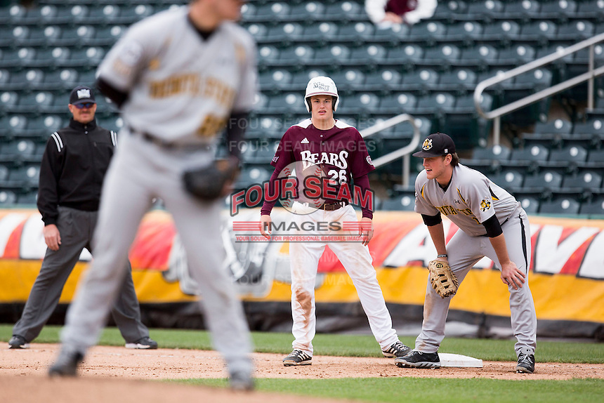 Tate Matheny #26 of the Missouri State Bears on base during a game against the Wichita State Shockers at Hammons Field on May 5, 2013 in Springfield, Missouri. (David Welker/Four Seam Images)