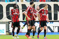 """Calcio, Serie A: Siena-Milan. Siena, stadio """"Artemio Franchi"""", 29 aprile 2012..Football, Italian serie A: Siena vs AC Milan. Siena's """"Artemio Franchi"""" stadium, 29 april 2012..AC Milan forward Zlatan Ibrahimovic, of Sweden, second from left, jokes with teammate Antonio Cassano, second from right, after scoring..UPDATE IMAGES PRESS/Riccardo De Luca"""