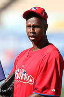 Juan Pierre #10 of the Philadelphia Phillies before a game against the Los Angeles Dodgers at Dodger Stadium on July 16, 2012 in Los Angeles, California. Philadelphia defeated Los Angeles 3-2. (Larry Goren/Four Seam Images)