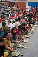 Manandhab Ceremony celebrated after the Holi Festival at the Monkey Temple, Kathmandu Nepal