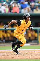 Jacksonville Suns  outfielder Angel Morales (8) during a game against the Pensacola Blue Wahoos on April 20, 2014 at Bragan Field in Jacksonville, Florida.  Jacksonville defeated Pensacola 5-4.  (Mike Janes/Four Seam Images)