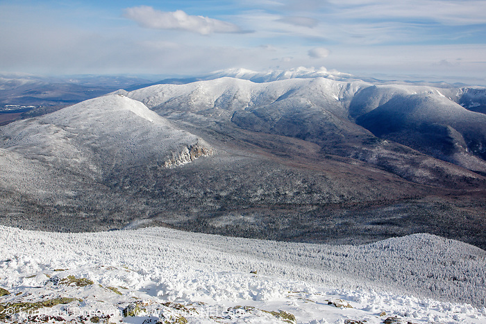 Pemigewasset Wilderness from Mount Lafayette in the White Mountains of New Hampshire during the winter months. Mount Garfield is above the cliffs. And the foreground was logged during the East Branch & Lincoln Logging Railroad era (1893-1948). The Appalachian Trail travels over Mount Lafayette.