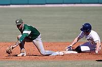 CARY, NC - FEBRUARY 23: Ryan Ford #7 of Penn State University steals second base, beating the tag by Mike Ruggiero #7 of Wagner College during a game between Wagner and Penn State at Coleman Field at USA Baseball National Training Complex on February 23, 2020 in Cary, North Carolina.