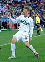 Valter Birsa of Slovenia celebrates his goal, 1-0. USA vs Slovenia in the 2010 FIFA World Cup at Ellis Park in Johannesburg, South Africa on June 18th, 2010.