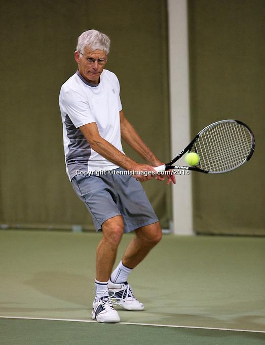 Hilversum, The Netherlands, 05.03.2014. NOVK ,National Indoor Veterans Championships of 2014, Huug van Wingerden(NED)<br /> Photo:Tennisimages/Henk Koster