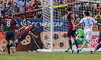 Cleveland, OH - Saturday July 15, 2017: Matt Miazga scores a goal during a 2017 Gold Cup match between the men's national teams of the United States (USA) and Nicaragua (NCA) at FirstEnergy Stadium.