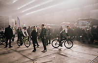 Edvald Boasson Hagen (NOR/Dimension Data) returning from the team presentation in the legendary 'Kuipke' velodrome<br /> <br /> Omloop Het Nieuwsblad 2018<br /> Gent › Meerbeke: 196km (BELGIUM)