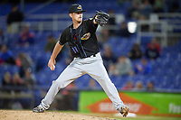 Akron RubberDucks relief pitcher Robbie Aviles (11) delivers a pitch during a game against the Binghamton Rumble Ponies on May 12, 2017 at NYSEG Stadium in Binghamton, New York.  Akron defeated Binghamton 5-1.  (Mike Janes/Four Seam Images)