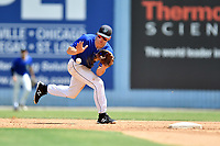 Asheville Tourists shortstop Ryan Vilade (4) fields the ball during a game against the Rome Braves at McCormick Field on September 3, 2018 in Asheville, North Carolina. The Tourists defeated the Braves 5-4. (Tony Farlow/Four Seam Images)