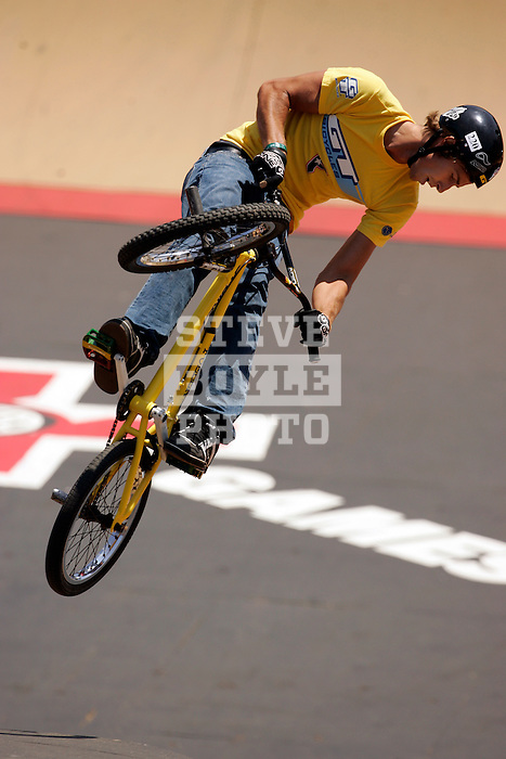 Alistair Whitton competes in the BMX Freestyle Park finals during X-Games 12 in Los Angeles, California on August 5, 2006.