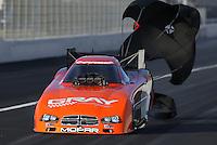 Feb. 15, 2013; Pomona, CA, USA; NHRA funny car driver Johnny Gray during qualifying for the Winternationals at Auto Club Raceway at Pomona. Mandatory Credit: Mark J. Rebilas-