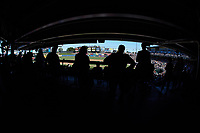 Fans watch the International League game between the Durham Bulls and the Lehigh Valley Iron Pigs from the standing room only section on the concourse at Coca-Cola Park on July 30, 2017 in Allentown, Pennsylvania.  The Bulls defeated the IronPigs 8-2.  (Brian Westerholt/Four Seam Images)