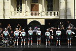 Bora-Hansgrohe on stage at team presentation of the 2021 Giro d'Italia inside the Cortile d'Onore of the Castello del Valentino, on the occasion of the 160th anniversary of the Unification of Italy, Turin, Italy. 6th May 2021.  <br /> Picture: LaPresse/Fabio Ferrari | Cyclefile<br /> <br /> All photos usage must carry mandatory copyright credit (© Cyclefile | LaPresse/Fabio Ferrari)