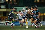 King's College at UQ (in white) plays against CRFA Gladiators (in black and blue) during GFI HKFC Rugby Tens 2016 on 06 April 2016 at Hong Kong Football Club in Hong Kong, China. Photo by Juan Manuel Serrano / Power Sport Images