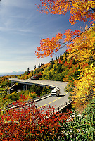 road, North Carolina, NC, Linn Cove Viaduct on the Blue Ridge Parkway in the autumn.