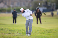 3rd October 2021; The Old Course, St Andrews Links, Fife, Scotland; European Tour, Alfred Dunhill Links Championship, Fourth round; Tyrrell Hatton of England plays from the rough on the second hole during the final round of the Alfred Dunhill Links Championship on the Old Course, St Andrews