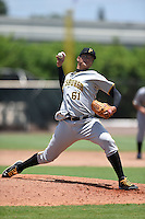 GCL Pirates pitcher Jen-Lei Liao (61) delivers a pitch before a game against the GCL Phillies on June 26, 2014 at the Carpenter Complex in Clearwater, Florida.  GCL Phillies defeated the GCL Pirates 6-2.  (Mike Janes/Four Seam Images)