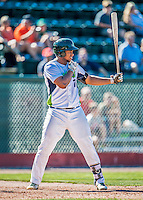 5 September 2016: Vermont Lake Monster infielder Miguel Mercedes in action against the Lowell Spinners at Centennial Field in Burlington, Vermont. The Lake Monsters defeated the Spinners 9-5 to close out their 2016 NY Penn League season. Mandatory Credit: Ed Wolfstein Photo *** RAW (NEF) Image File Available ***