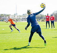 ORLANDO, FL - JANUARY 20: Ashlyn Harris #18 of the USWNT throws out the ball during a training session at the practice fields on January 20, 2021 in Orlando, Florida.