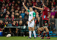 Referee Ben O'Keefe awards a penalty during the 2021 Super Rugby Aotearoa final between the Crusaders and Chiefs at Orangetheory Stadium in Christchurch, New Zealand on Saturday, 8 May 2021. Photo: Joe Johnson / lintottphoto.co.nz