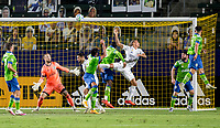 CARSON, CA - SEPTEMBER 27: Rolf Feltscher #25  of Los Angeles Galaxy attempts a head ball on Stefan Frei #24 GK of the Seattle Sounders during a game between Seattle Sounders FC and Los Angeles Galaxy at Dignity Heath Sports Park on September 27, 2020 in Carson, California.