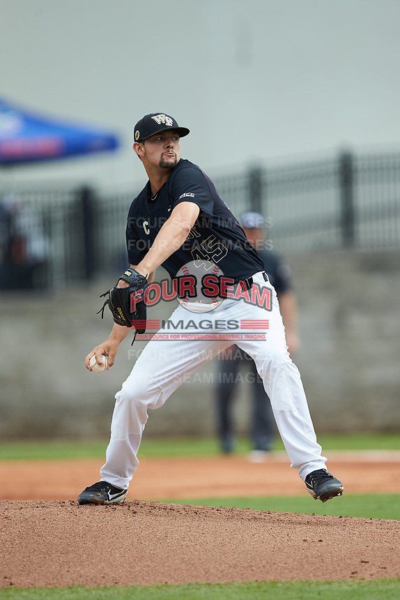 Wake Forest Demon Deacons starting pitcher John McCarren (45) in action against the Florida Gators in Game Three of the Gainesville Super Regional of the 2017 College World Series at Alfred McKethan Stadium at Perry Field on June 12, 2017 in Gainesville, Florida. The Gators defeated the Demon Deacons 3-0 to advance to the College World Series in Omaha, Nebraska. (Brian Westerholt/Four Seam Images)