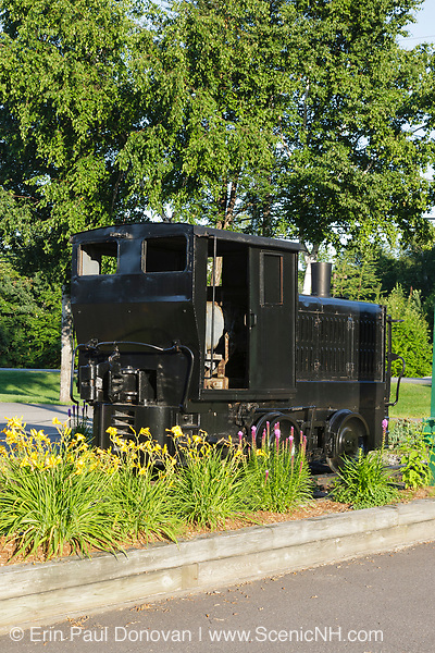 A Plymouth Diesel locomotive on display in Lincoln, New Hampshire. This locomotive was used in the yard at the Draper's Corporation Beebe River Mill Plant, part of the Beebe River Railroad.