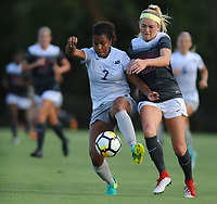 NWA Democrat-Gazette/ANDY SHUPE<br /> Arkansas' Parker Goins (right) and Penn State's Elizabeth Ball vie for the ball Friday, Aug. 25, 2017, during the Razorbacks' 4-2 loss at Razorback Field in Fayetteville. Visit nwadg.com/photos to see more photographs from the match.