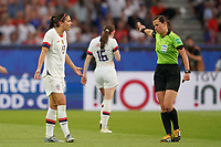 PARIS, FRANCE - JUNE 28: Alex Morgan #13, Kateryna Monzul during a 2019 FIFA Women's World Cup France quarter-final match between France and the United States at Parc des Princes on June 28, 2019 in Paris, France.