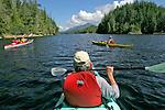 Sea Kayaking, Great Bear Rainforest Park, Kitasoo/Xaixais First Nation territory. Laredo Sound, Thistle Passage, Inside Passage, West Coast, British Columbia, Canada, Pacific Coast, North America, Kayakers paddle narrow passages, released, double kayaks,.