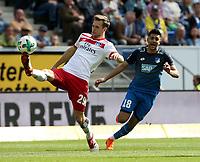 15.04.2018, Wirsol Rhein-Neckar-Arena, Sinsheim, GER, 1.FBL, TSG 1899 Hoffenheim vs Hamburger SV, <br />Matti Steinmann (Hamburg), Nadiem Amiri (Hoffenheim) *** Local Caption *** © pixathlon<br /> Contact: +49-40-22 63 02 60 , info@pixathlon.de