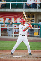 Tim Arakawa (1) of the Orem Owlz at bat against the Ogden Raptors in Pioneer League action at Home of the Owlz on June 20, 2015 in Provo, Utah.The Raptors defeated the Owlz 9-6. (Stephen Smith/Four Seam Images)