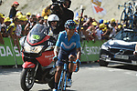 """Nairo Quintana (COL) Movistar Team climbs towards the finish line in 17th place atop the Col du Tourmalet 3'24"""" down at the end of Stage 14 of the 2019 Tour de France running 117.5km from Tarbes to Tourmalet Bareges, France. 20th July 2019.<br /> Picture: Colin Flockton 