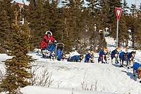 Sebastian Schnuelle leaves the Koyuk checkpoint during the 2010 Iditarod