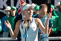 January 31, 2016: Elena Vesnina of Russian Federation makes a speech after winning the Mixed Doubles Final against Coco Vandeweghe of United States of America and Horia Tecau of Romania on day fourteen of the 2016 Australian Open Grand Slam tennis tournament at Melbourne Park in Melbourne, Australia. Vesnina and Soares won 64 46 105. Photo Sydney Low