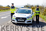 Tralee Garda Leanne Housman and Kevin McCarthy manning the Garda checkpoint on the Tralee/Listowel road on Monday.